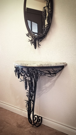 pine bough demilune table and mirror
