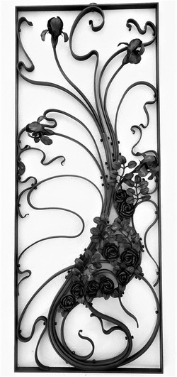 """Iris and rose grille, forged and fabricated mild steel, 24"""" x 60"""""""
