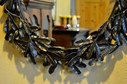 olive branch mirror detail