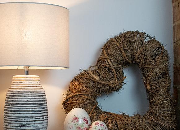 Dark Wicker Hanging Heart Wreath