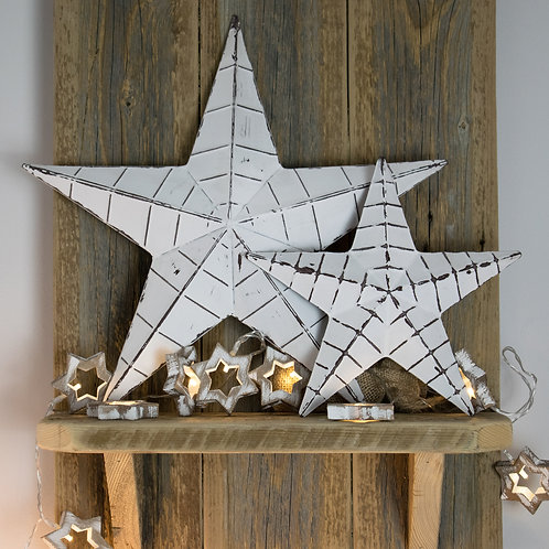 White Metal Barn Star with Distressed FInish