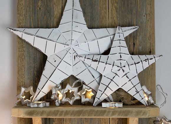 Small White Metal Distressed Barn Star