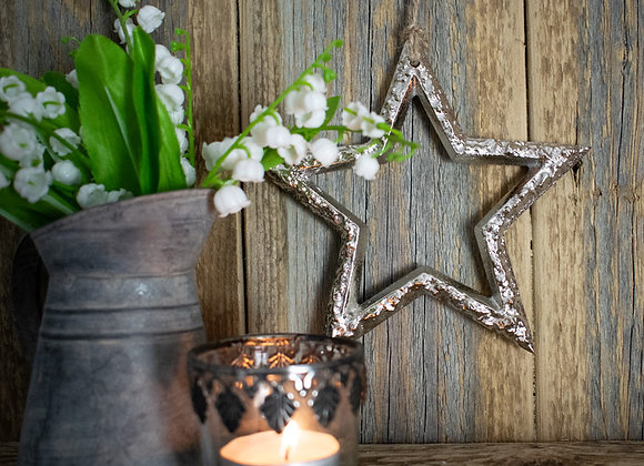 Hanging Metal Star on Wooden Shelf with Jug and Tealight