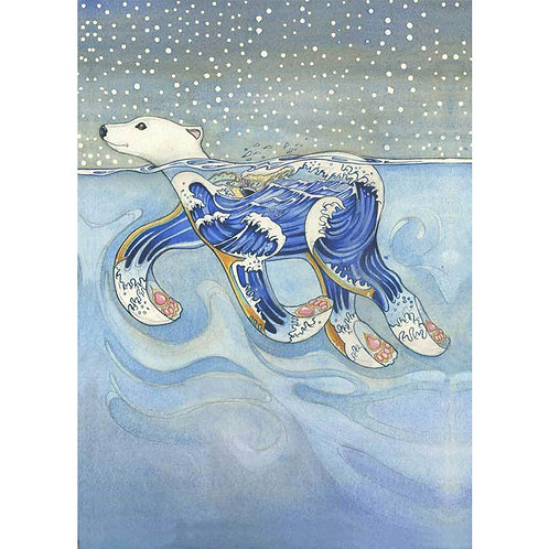 Swimming Polar Bear Greetings Card