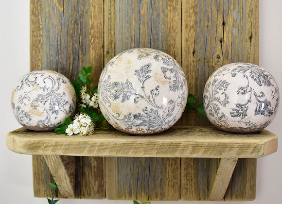 Pale Blue and White Patterned Ceramic Globe Ornaments