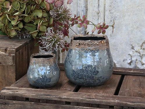 Blue Tapered Flowerpot