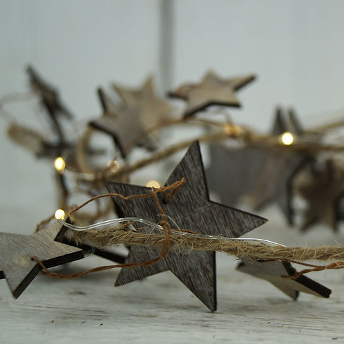 Rustic Grey Star Garland with LED Lights