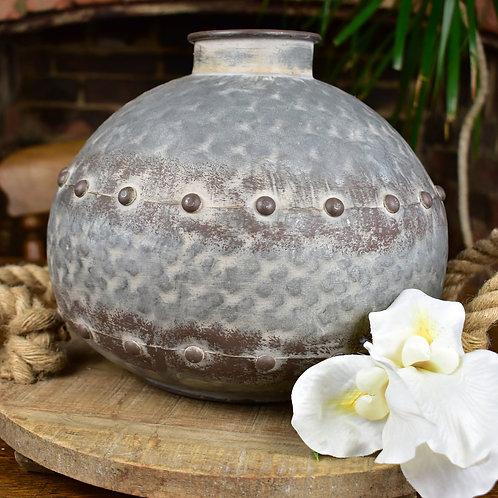 Globe Vase in Riveted Zinc