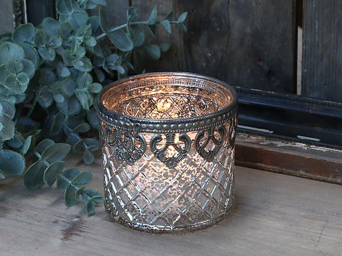 Silver Mercury Tealight Holder with Filigree Edge
