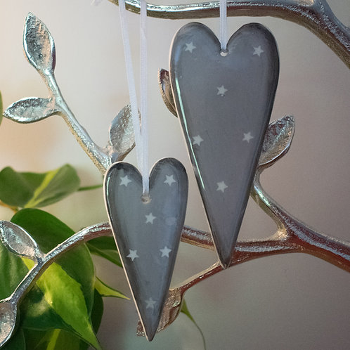 Grey Ceramic Hanging Hearts with Star Decoration