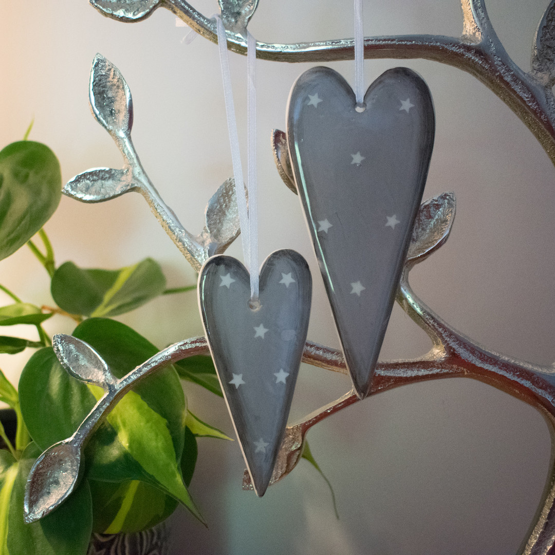 Grey Ceramic Hanging Hearts