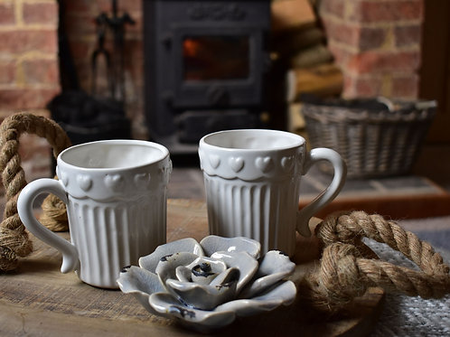 White Ribbed Tea Mug