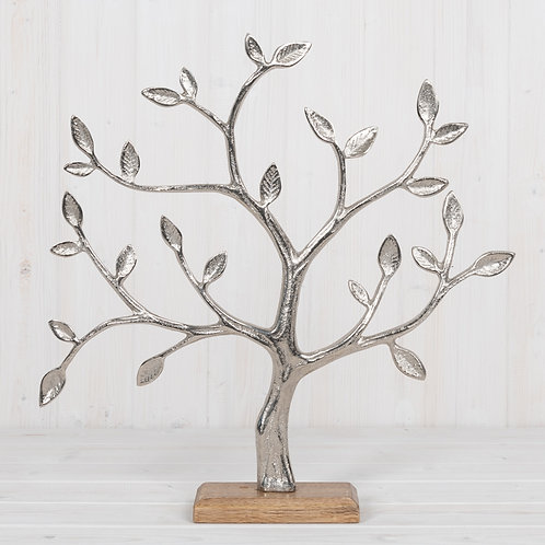 Metal Tree of Life on Mango Wood Base