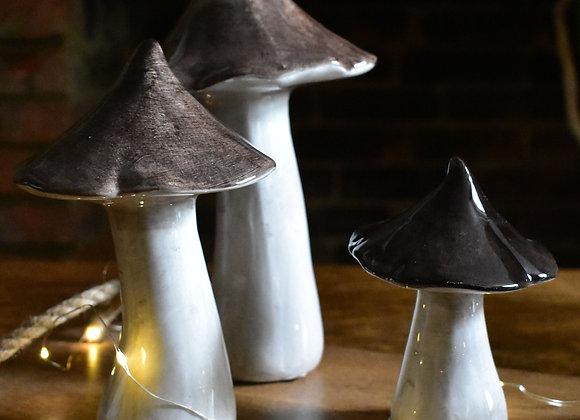 Three Ceramic Mushrooms