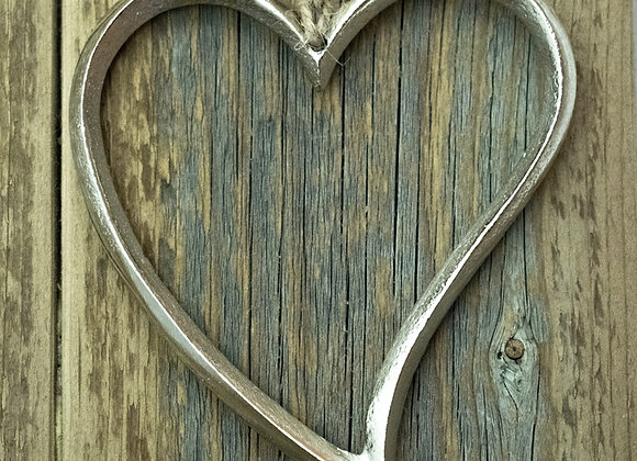 Metal Heart on Jute String