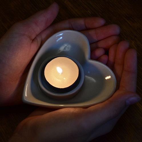 Grey Ceramic Heart-Shaped Tealight Holder