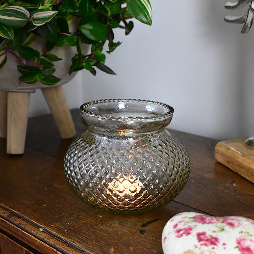 Glass Tealight Holder with Large Base
