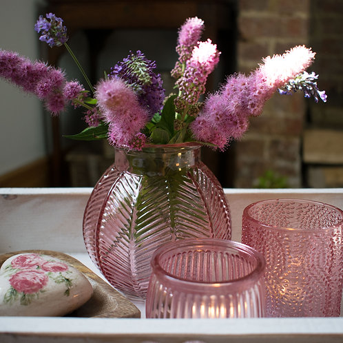 Pink Ribbed Glass Tealight Holder