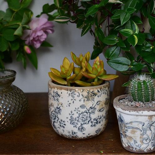 Plant Pot with Floral Design