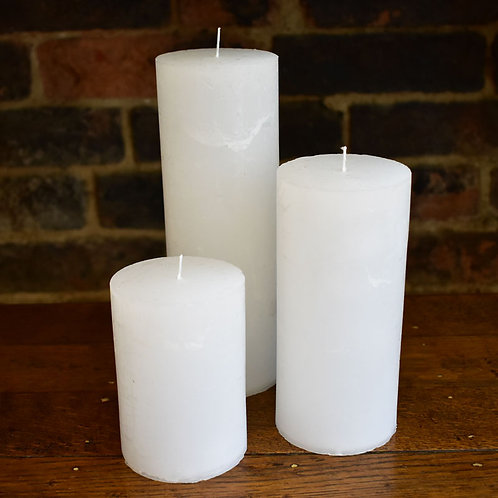 Rustic White Candles in Three Sizes