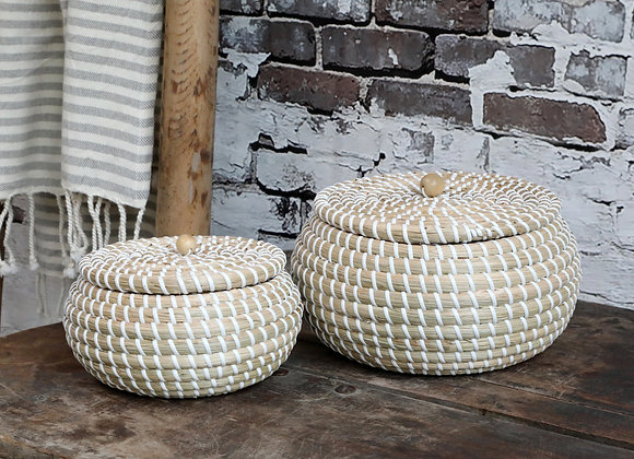 Pale Seagrass Storage Basket with Lid