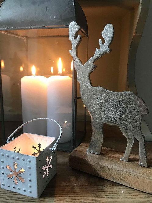Small Metal Reindeer on Wooden Base