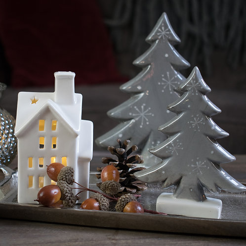 Grey Ceramic Tree Ornaments