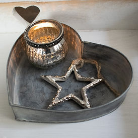 Zinc Heart Tray with Tealight and Star