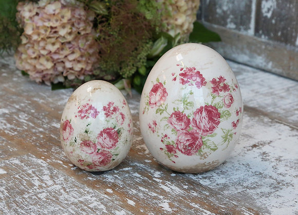 Ceramic Egg Decoration with Vintage Feel and Rose Decoration