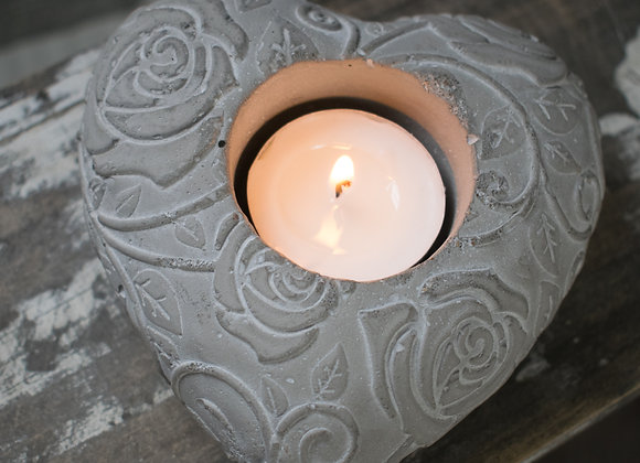 Cement Heart-Shaped Tealight Holder