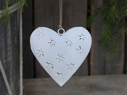 Hanging White Metal Heart Gift