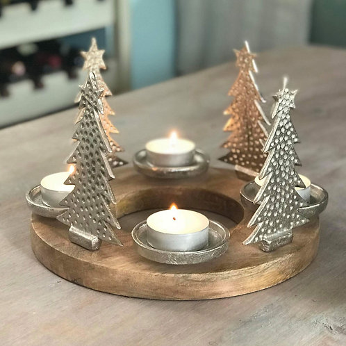 Forest Scene with Metal Christmas Trees and Tealights