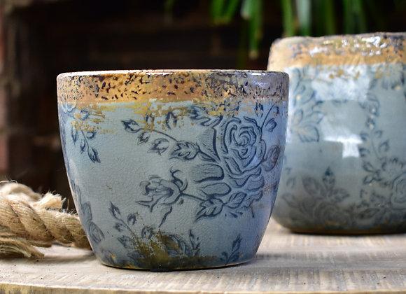 Blue Indoor Planting Pot with Bronze Colour Edges