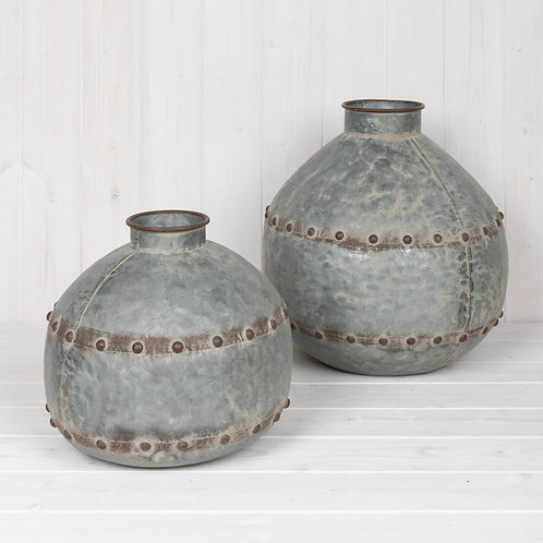 Grey Vintage Zinc Vases with Rivets and Aged Finish