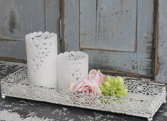 White Zinc Tray with Lace Edge Design