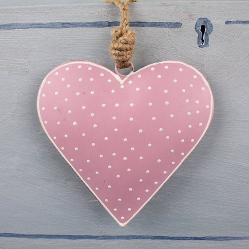 Small Pink Metal Hanging Heart from Parlane