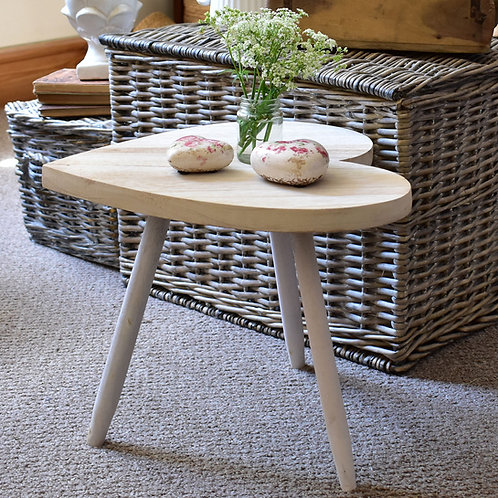 Small White Heart Shaped Table