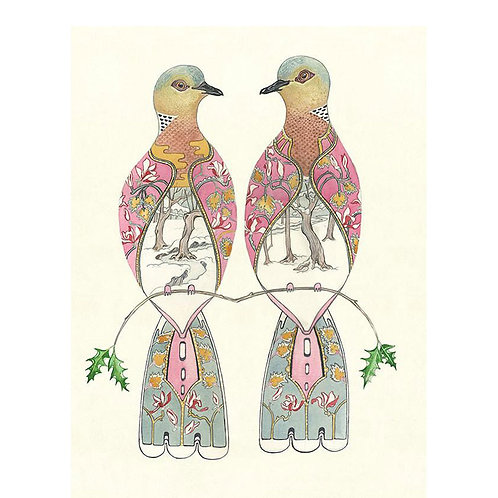 Turtledoves Bird Greetings Card