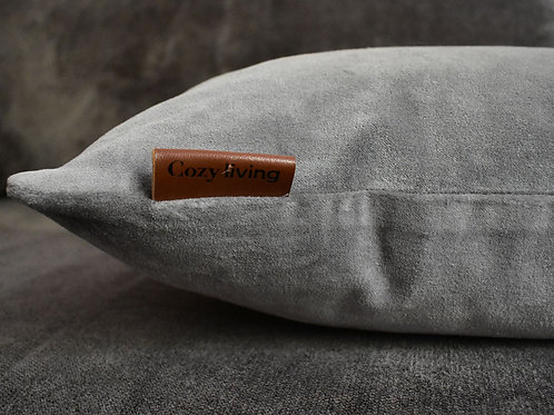 Light Grey Cushion in Washable Velvet