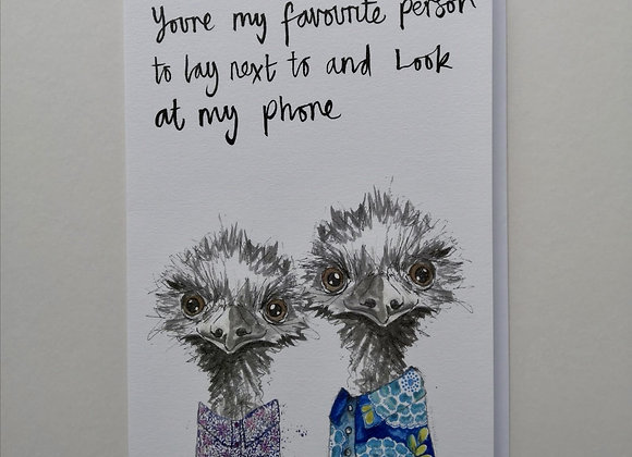 Blank Greetings Card with Texting Emus