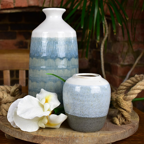 Textured Blue and White Stoneware Vase from Parlane