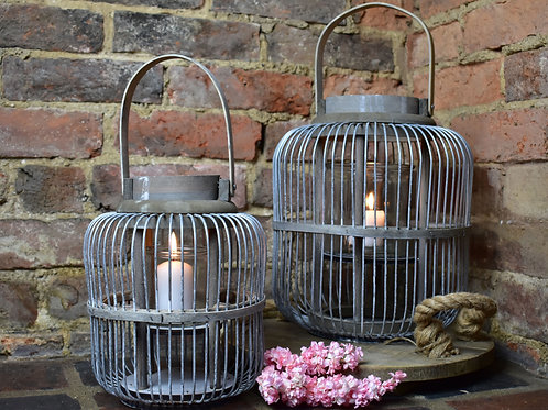 Wire Lantern Available in Small and Large Sizes
