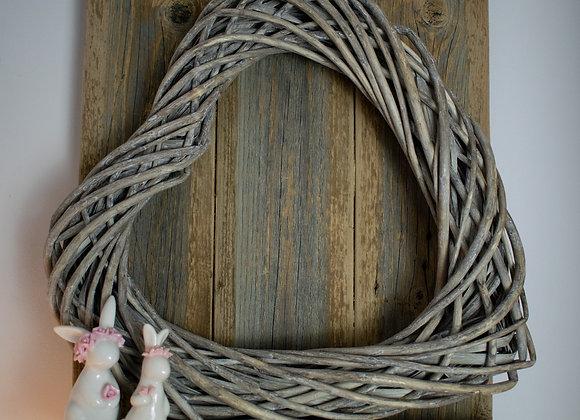 Grey Willow Heart Wreath