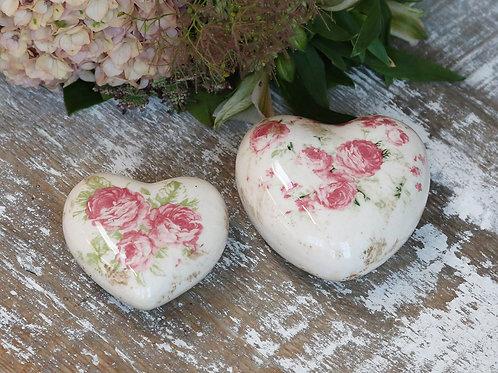 Ceramic Hearts with Vintage Rose Design
