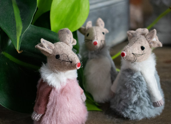 Felt Mouse with Pink Dress