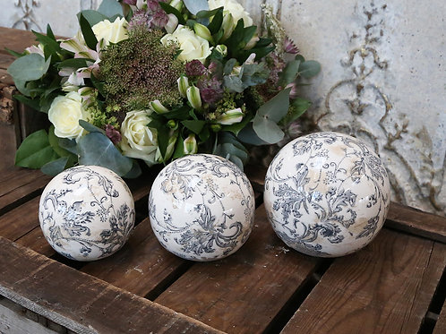 French ceramic ball with blue-grey pattern