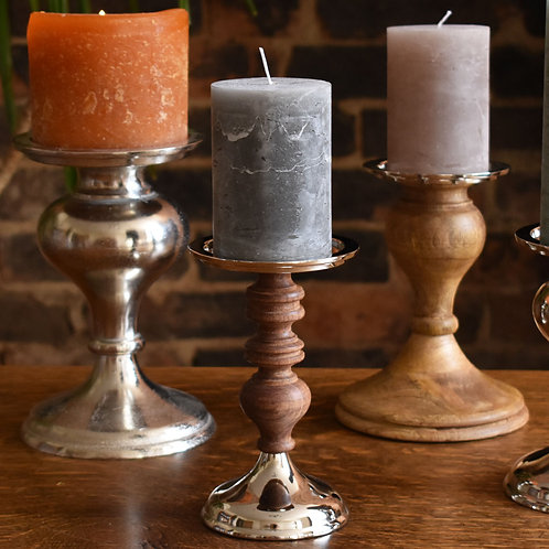 Wood and Nickel Candlestick
