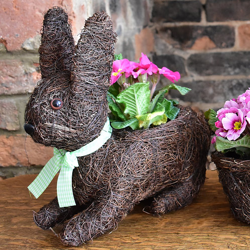 Rabbit Planter made from Dried Grass