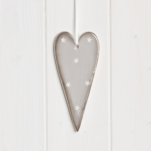 Grey Ceramic Heart Decoration