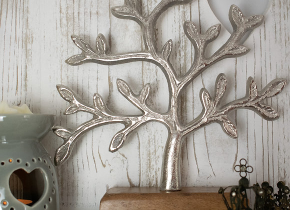 Small Metal Tree of Life on Wooden Plinth